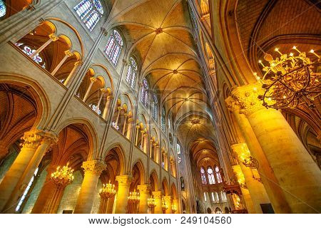 Paris, France - July 1, 2017: Central Nave Interior Of Our Lady Of Paris Church, Notre Dame Gothic C