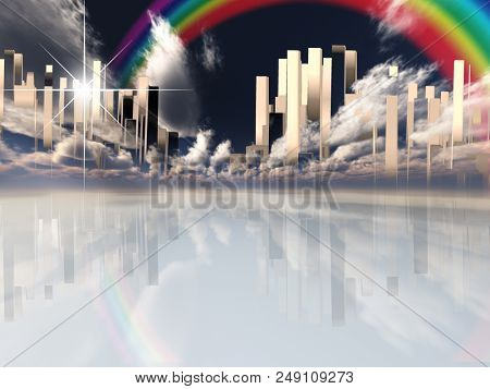 Heavenly Futuristic City in Clouds. Rainbow in the Sky. 3D rendering
