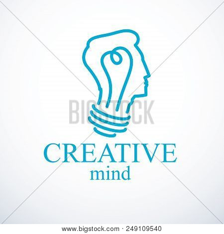 Creative Brain Concept, Intelligent Person Vector Logo. Light Bulb In A Shape Of Man Head Profile. B