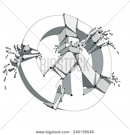 Peace Symbol Breaking To Pieces Vector 3d Mesh Illustration, Broken Peace, Antiwar Meeting And Prote