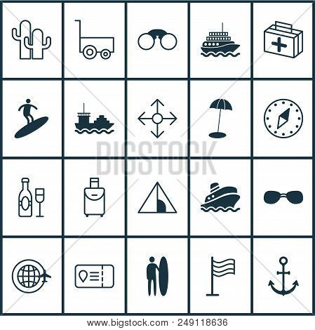 Tourism Icons Set With Surfing, Champagne, Tent And Other Pin Elements. Isolated Vector Illustration