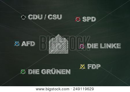 German Parties Written With Chalk On Chalkboard And Painted Voting Box With Ballot As Request To Go