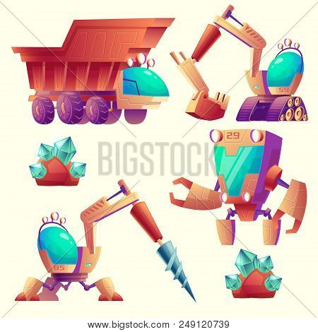 Vector Cartoon Set Of Mining Machinery For Other Planets, Futuristic Devices. Space Exploration With