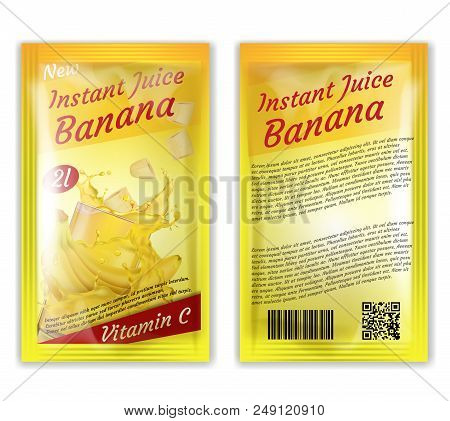 Vector 3d Realistic Package Of Instant Juice Isolated On White Background. Yellow Banana And Slices