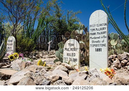 Tombstone, Az, Usa: 11 July 2016 - Historic Boot Hill Cemetery In The Wild West Two Of Tombstone