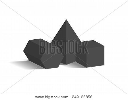 Square Pyramid Pentagonal Prism And Cube 3d Geometric Black Shapes Isolated On White, Three Dimensio