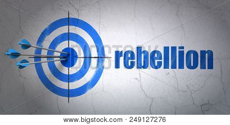 Success Politics Concept: Arrows Hitting The Center Of Target, Blue Rebellion On Wall Background, 3d