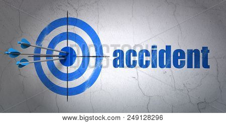 Success Insurance Concept: Arrows Hitting The Center Of Target, Blue Accident On Wall Background, 3d