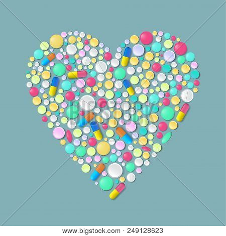 Vector Pills And Capsules Arranged In Heart Shape. Healthcare Medical Concept. Tablets, Capsules, Pa