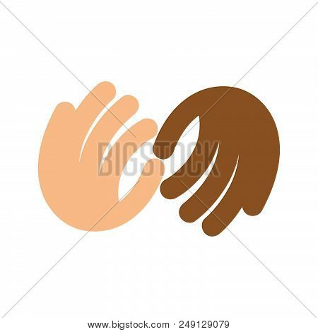 The Fight Against Racism. Vector Logo. No Discrimination Based On Race. Touching Fingertips. The Pal