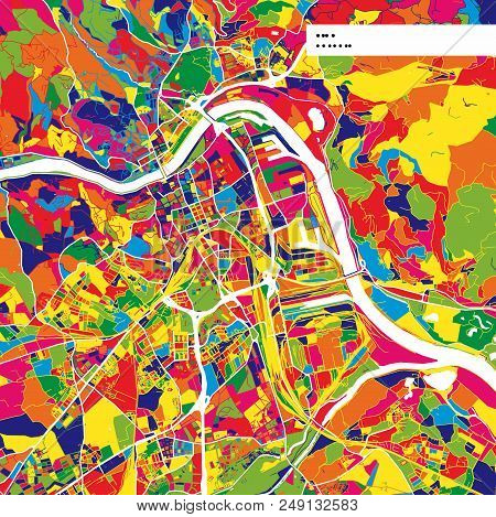 Colorful Map Of Linz, Austria. Background Version For Infographic And Marketing Projects. This Map O