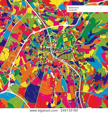 Colorful Map Of Salzburg, Austria. Background Version For Infographic And Marketing Projects. This M