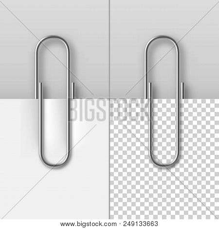 Realistic Metal Paper Clips On Paper Sheets Set. Office Or School Stationery Vector Illustration. Si
