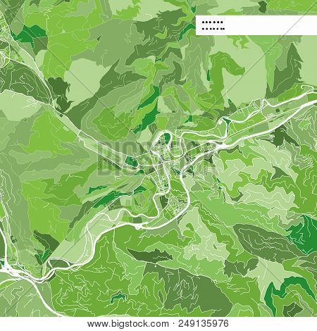 Colorful Map Of Leoben, Austria. Background Version For Infographic And Marketing Projects. This Map