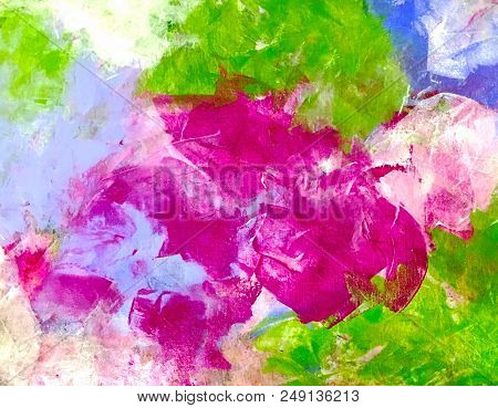 Acrylic Painting On Canvas Of Color Swashes In Magenta, Green And Blue