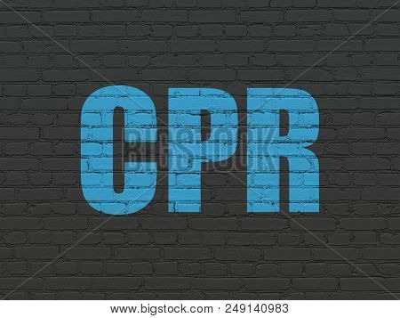 Medicine Concept: Painted Blue Text Cpr On Black Brick Wall Background