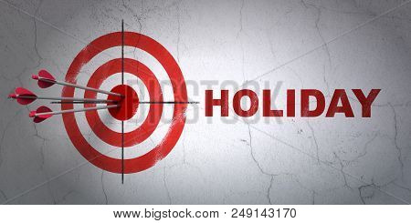 Success Vacation Concept: Arrows Hitting The Center Of Target, Red Holiday On Wall Background, 3d Re