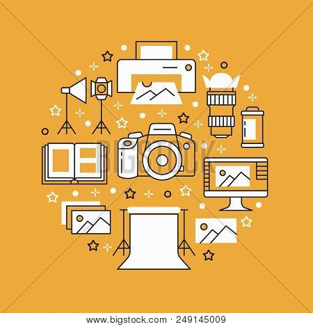 Photography Equipment Poster With Flat Line Icons. Digital Camera, Photos, Lighting, Video Cameras,