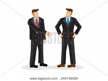 Business Man Offering Hand Shake While Another Is Ignoring Him. Concept Of Negotiating Business, Dis