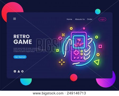 Retro Games Website Concept Banner Vector Design Template. Retro Game Light Banner In Neon Style, Re