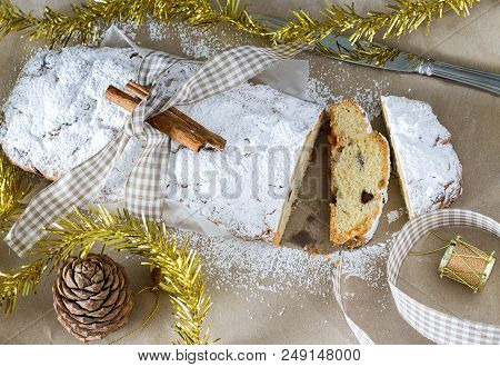 Quarkstollen Or Christmas Stollen With Cheese. Traditional German, European Festive Cakes With Nuts