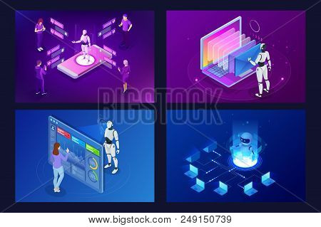 Isometric Robots Man With Artificial Intelligence Working With A Virtual Interface In Chatbot Emails