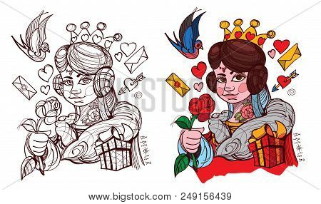 Figure Character. The Young Lady With The Symbol Of Hearts Suit. Queen Of The Deck Of Playing Cards.