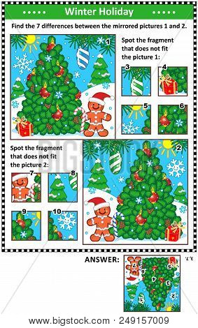 New Year Or Christmas Visual Puzzles With Christmas Tree And Ginger Man. Find The Differences Betwee