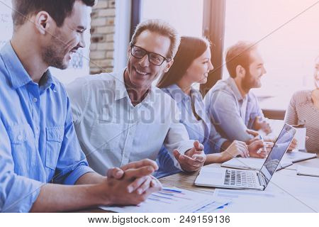 Business People In Smart Casual Wear Discussing Affairs. Business People Meeting Conference Discussi