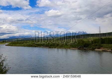 North Fork Flathead River Running Through Glacier National Park