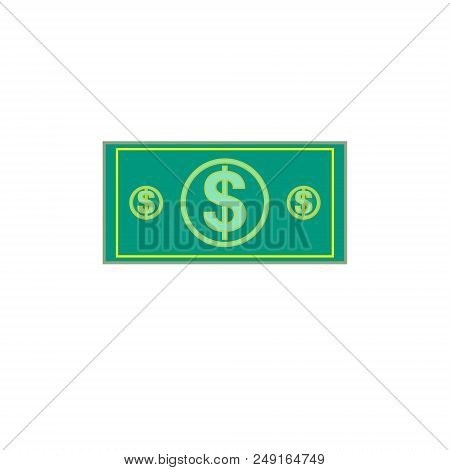 Flat Illustration Of Money. Dollar Currency Banknote Green. Dollars Bill, Money Banknote. Vector Dol