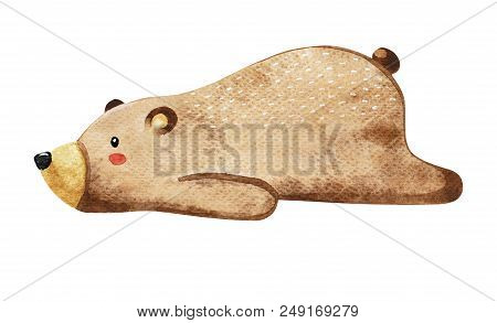 Lovely Lazy Bear. Bear Cub Isolated On White Background. Watercolor