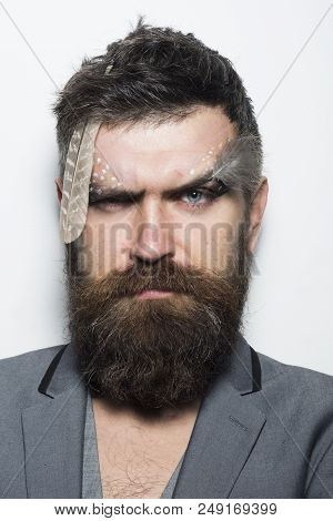 Hair Salon. Man With Long Beard Hair And Makeup. Bearded Man With Stylish Hair. Where Hair Becomes A