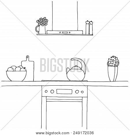 Sketch Of The Kitchen. Worktop, Stove, Hood, Kettle And Other Items. Vector Illustration