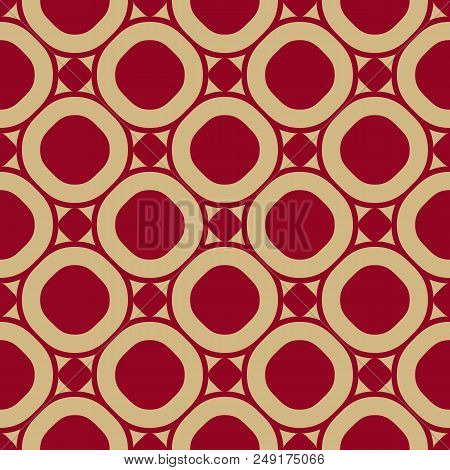Vector Seamless Pattern In Asian Style. Red And Gold Traditional Chinese Ornament. Luxury Ornamental