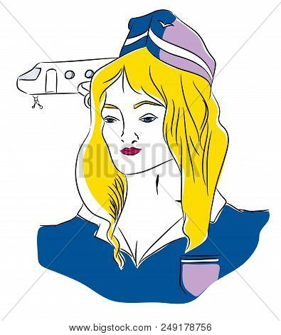 Flight Attendant.  Beautiful Blond Air Hostess With Hostess Costume In Front Of Airplane.