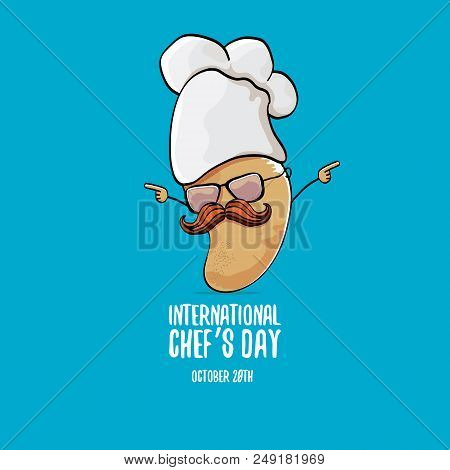 International Chef Day Greeting Card. Vector Funny Cartoon Tiny Brown Smiling Chef Potato With Hat I