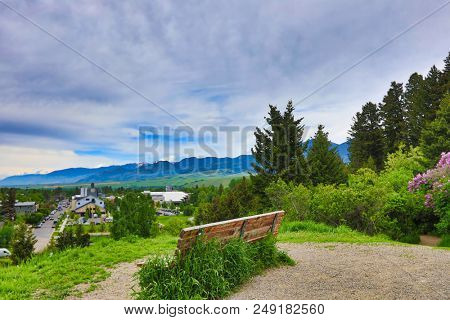 The hills of Bozeman, Montana are full of paths for walking, running and other fitness activities.  There are picturesque views of the city and the mountains.  There are benches to enjoy the view.