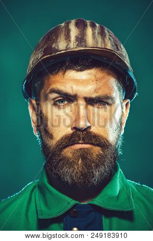 Man Builder. Industrial Worker. Construction Worker In Hard Hat. Portrait Of Mechanical Worker. Buil