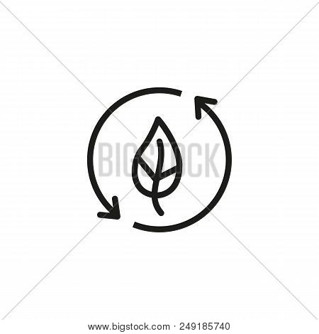 Leaf With Recycle Symbol Line Icon. Circle, Plant, Nature. Ecological Recycling Concept. Can Be Used