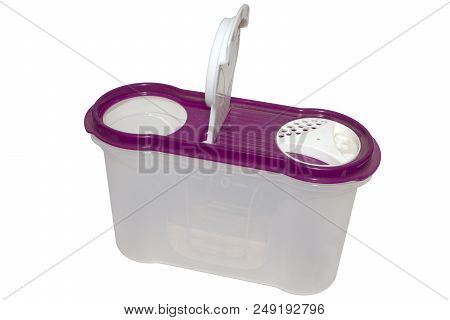 Plastic Airtight Container For Food Storaging, With The Dispenser For Groats And Cereal. Isolated On