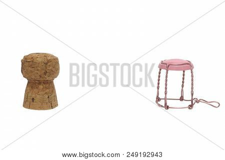 Champagne Cork And Muselet Pink Isolated On White With Clipping Path