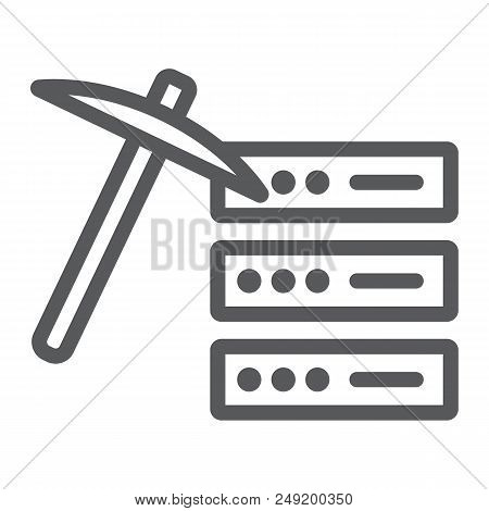 Data Mining Line Icon, Data And Analytics, Mining Pick Sign, Vector Graphics, A Linear Pattern On A