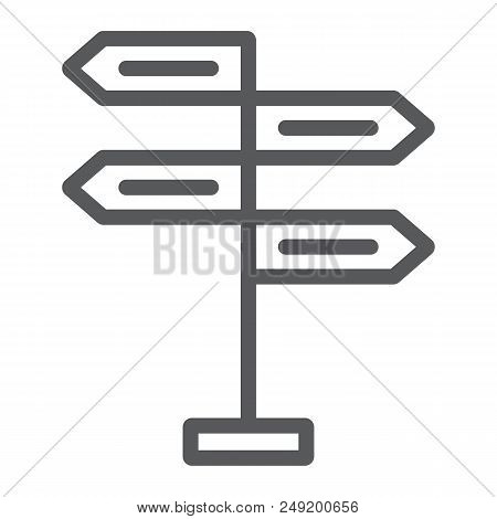 Signpost Line Icon, Decision Making And Guidepost, Arrow Sign, Vector Graphics, A Linear Pattern On