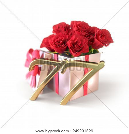 Birthday Concept With Red Roses In Gift Isolated On White Background. 3d Render - Seventy-seventh. 7