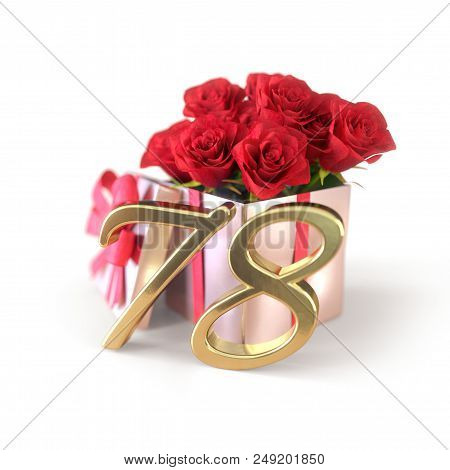 Birthday Concept With Red Roses In Gift Isolated On White Background. 3d Render - Seventy-eighth. 78