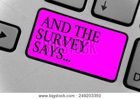 Handwriting Text Writing And The Survey Says.... Concept Meaning Doing Poll And Bring The Results Di