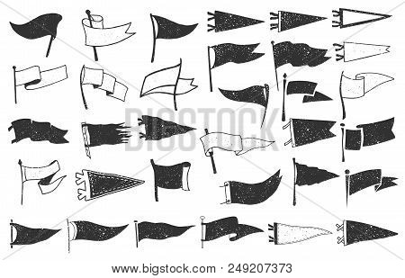 Set Of Textured Pennants. Retro Monochrome Labels. Hand Drawn Wanderlust Style. Pennant Flags Design