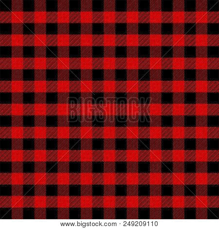Lumberjack Plaid. Scottish Pattern In Red And Black Cage. Scottish Cage. Scottish Checkered Backgrou