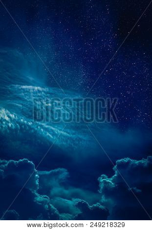 Beautiful Vivid Skyscape With Many Stars. Landscape Of Night Sky With Bright Full Moon And Cloudy, S